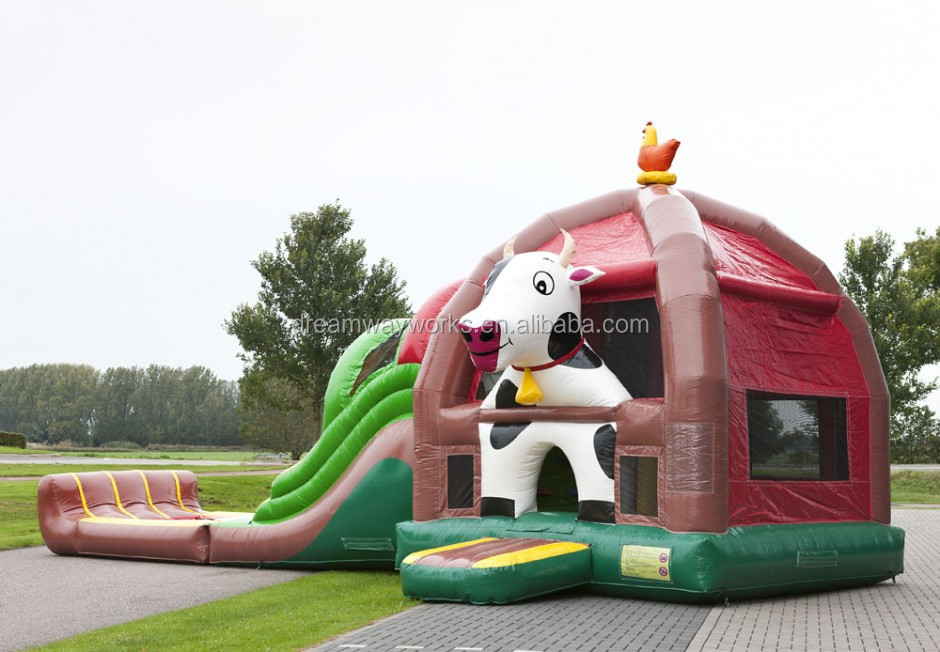 2019 fun city inflatable jumping theme park, inflatable bouncy castle with slide for sale