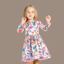 S31746W 2016 brand dress baby girl print flower style tutu princess dresses kid wear nova party dress