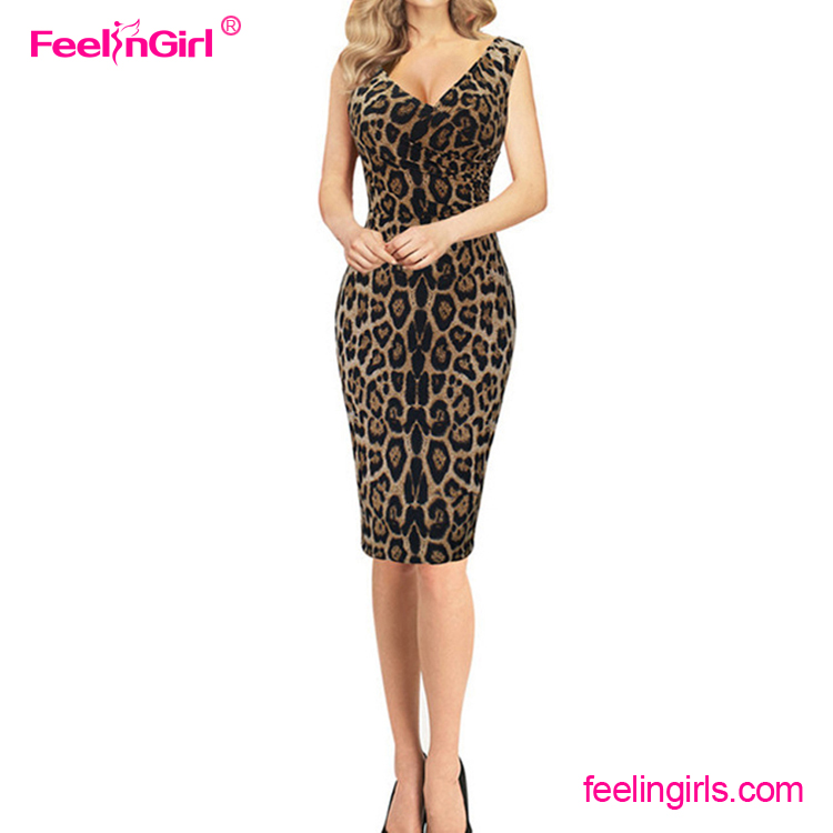 Sexy V Neck Leopard Tanpa Lengan Midi Perban New Fashion Lady Dress