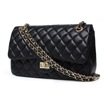 High Quality Quilted Pu Shoulder Bag With Chain Strap Women S Messenger Las Black Grid