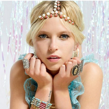 Bohemian Women Metal Imitation Pearl Beads Head Chain Jewelry Forehead Headband Hair Accessories Multilayer Headpiece for Women