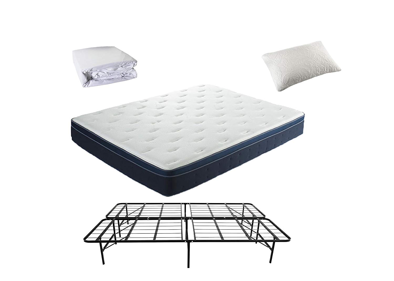 Knock Off Mattress 4-Piece Sleep Solutions Set (Full) Includes: Foam/Coil Mattress, Metal Bed Frame (No Box Spring Needed), Waterproof Mattress Protector, and (1) Gel/Foam Pillow (Additional