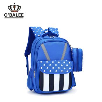 2018 Amazon new design custom logo water resistant blue nylon kids school  bags for boys backpack f8463d4ca02db