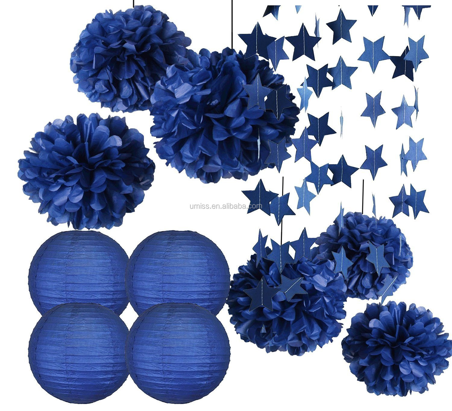 Umiss star garland paper pom pom lanterns set for july 4th 814vzukjzol izmirmasajfo