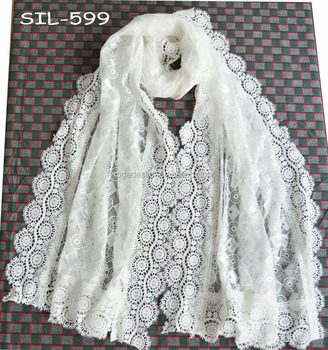 Fashion The Latest White Crochet Cotton Round Flower Heart Hijab Lace