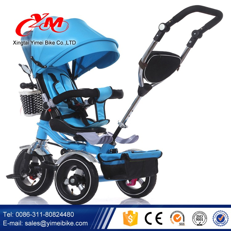 Big Rubber Wheels Baby Trike With Canopy New Model 4 In 1