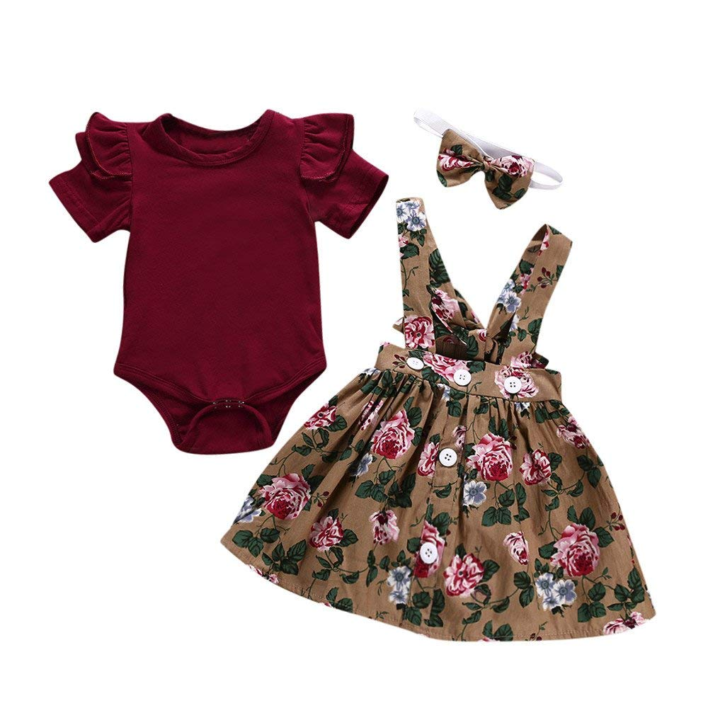 ❤️Mealeaf❤️ Baby Boys and Girls Clothes with 3Pcs Baby Toddler Girls Kids Overalls Skirt +Headband+Romper Clothes Outfits (6-12 Months Old, Multicolor)