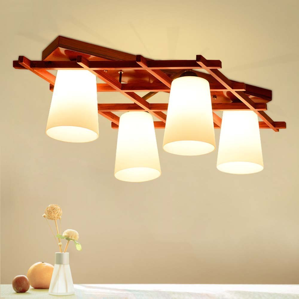 DIDIDD Ceiling light- modern chinese solid wood american village chinese style classical wood craft ceiling light bedroom study restaurant ceiling light (shape optional) --home warm ceiling lamp