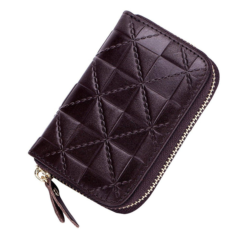 MuLier Card Holder Wallets for Women RFID Blocking Credit Card Holder Wallet - Made from Primely Genuine Leather (Black)
