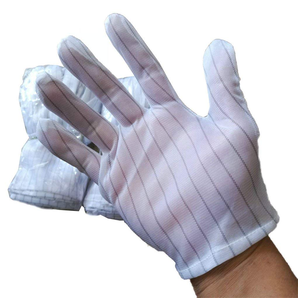 F-blue White Stripes Printed Anti-static Working Gloves Anti-slip Electrostatic Labor Protection Gloves 5 Pairs