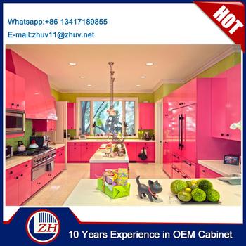 Pink Warna Kabinet Dapur Kayu Lapis Kombinasi
