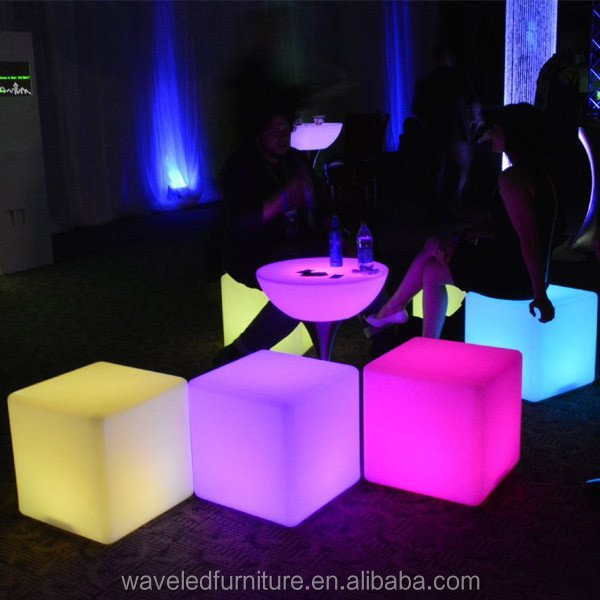 Top quality color changing outdoor party plastic LED mood cube chair light cube