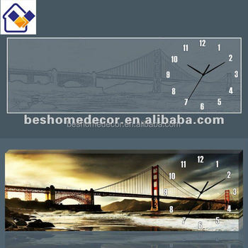 Home Decor Wholesalers Wall Clock City Scenery,wall Clocks With Photo  Frame,decorate Wall