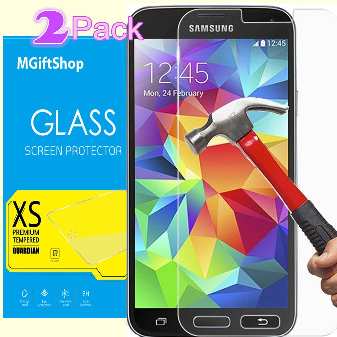 [2 Pack] Samsung Galaxy S7 Screen Protector, Samsung Galaxy S7 Glass Screen Protector, MGIFTSHOP Tempered Glass Screen Protector Samsung Galaxy S7, (2-Pack)