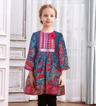 Middle East Hot Autumn Girl Boutique National Printing Sequins Baby Girl Frock font b Fancy b
