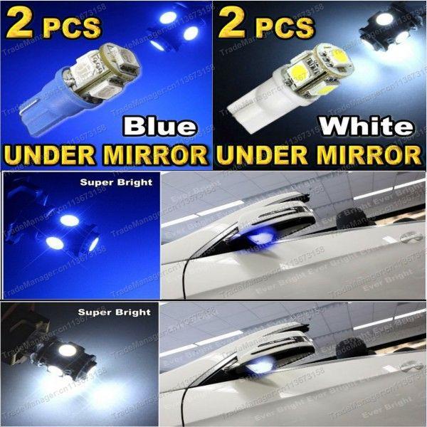 Бесплатная доставка 2 X белый / синий T10 168 194 2825 5-SMD 5050 из светодиодов под зеркало лужа свет для шевроле форд Lexus и т . д .
