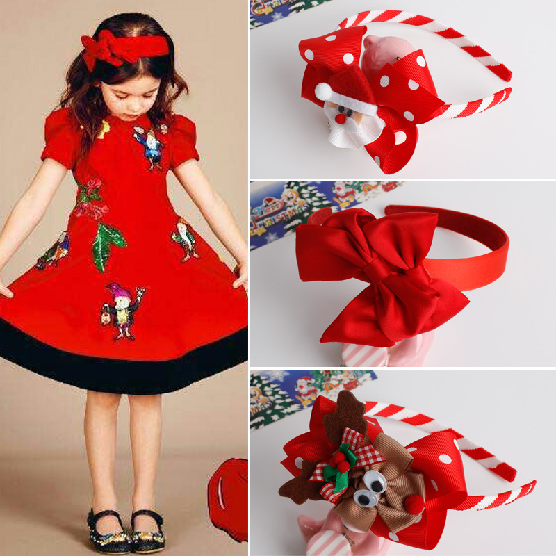 <strong>Christmas</strong> Item 2017 Hair Accessories Santa Claus Elk Red Bow Hair Band