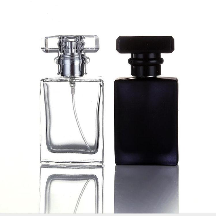 30 ml squared chiaro opaco di vetro nero bottiglia di profumo spruzzatore della pompa con crimp cap