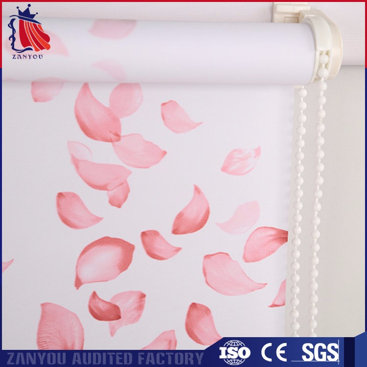 Pink printing flowers polyester fabric for sunscreen roller blind