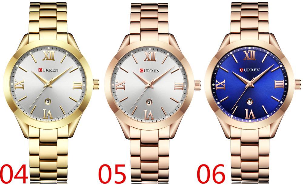 CURREN 9007 Elegante orologio del Quarzo Del Giappone Movt Orologio Da Donna Data Dell'acciaio Inossidabile Delle Donne Orologi di Moda A Mano Orologio