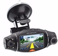 "2.7 ""screen R310 g-sensor wdr dual camera dash cam camera for inside car car video camera recorder with gps"