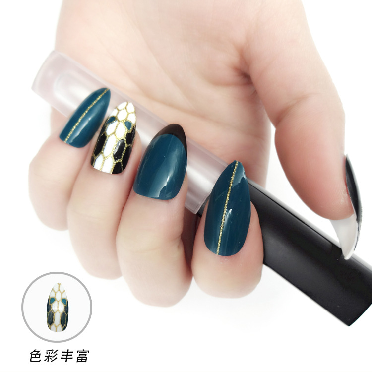 New Arrival Long Pointed Fantasma Blue snake Pre-designed Finished False Nail Tips for Girl  24 tips/box