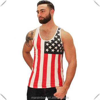 8bbe43057b02ad Vertical American Flag New Men Tank Top Tee Casual Printed USA Flag  Sleeveless Shirts Wholesale Mens