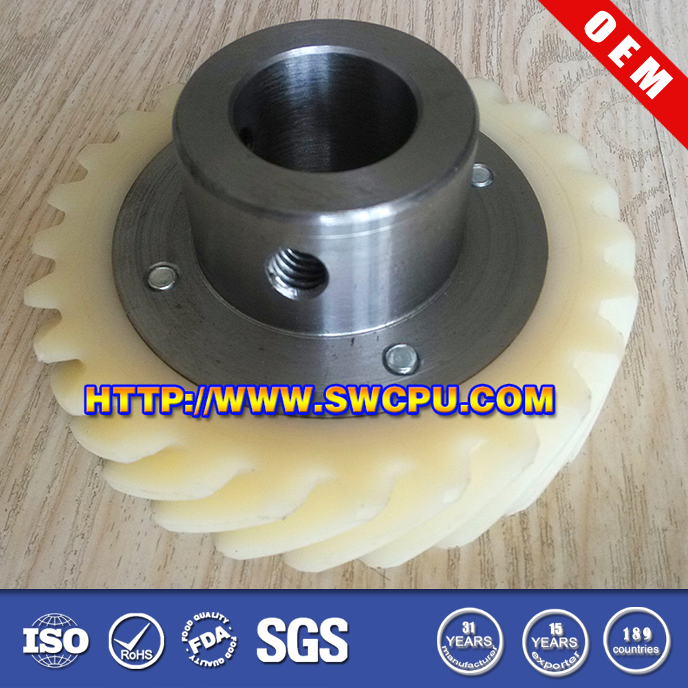 CNC machining acetal or nylon gear with stainless hub