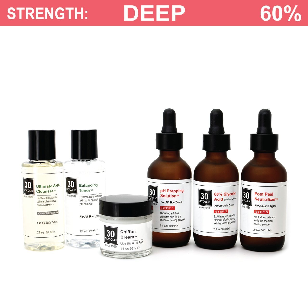 60% Glycolic Peel System for Acne/Oily/Combo Skin - FREE $45 Cleanser/Toner/Cream INCLUDED