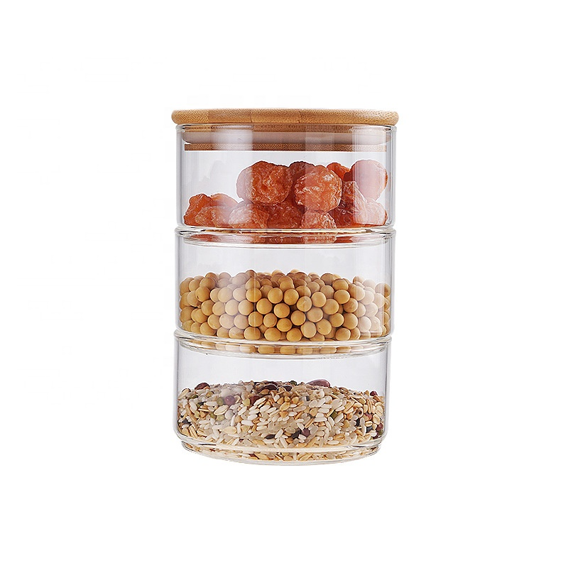 Alibaba.com / Stackable bamboo wood seal lid glass storage jar with wooden lid