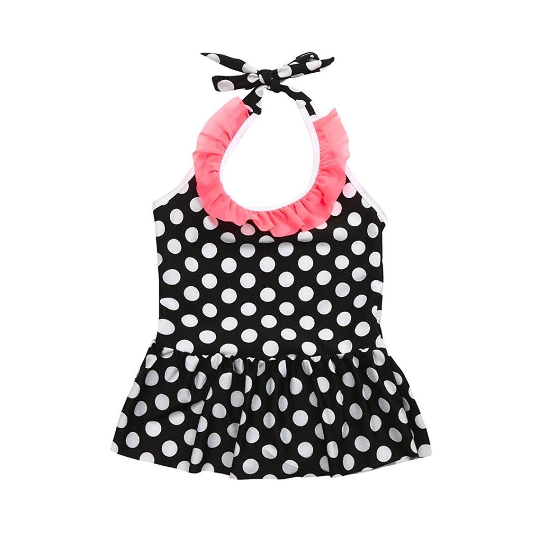 67f54d0877a5 Get Quotations · Fartido Baby Kid Girl Swimsuits Bathing Dot Swimwear  Bikini Dress Beach Clothes
