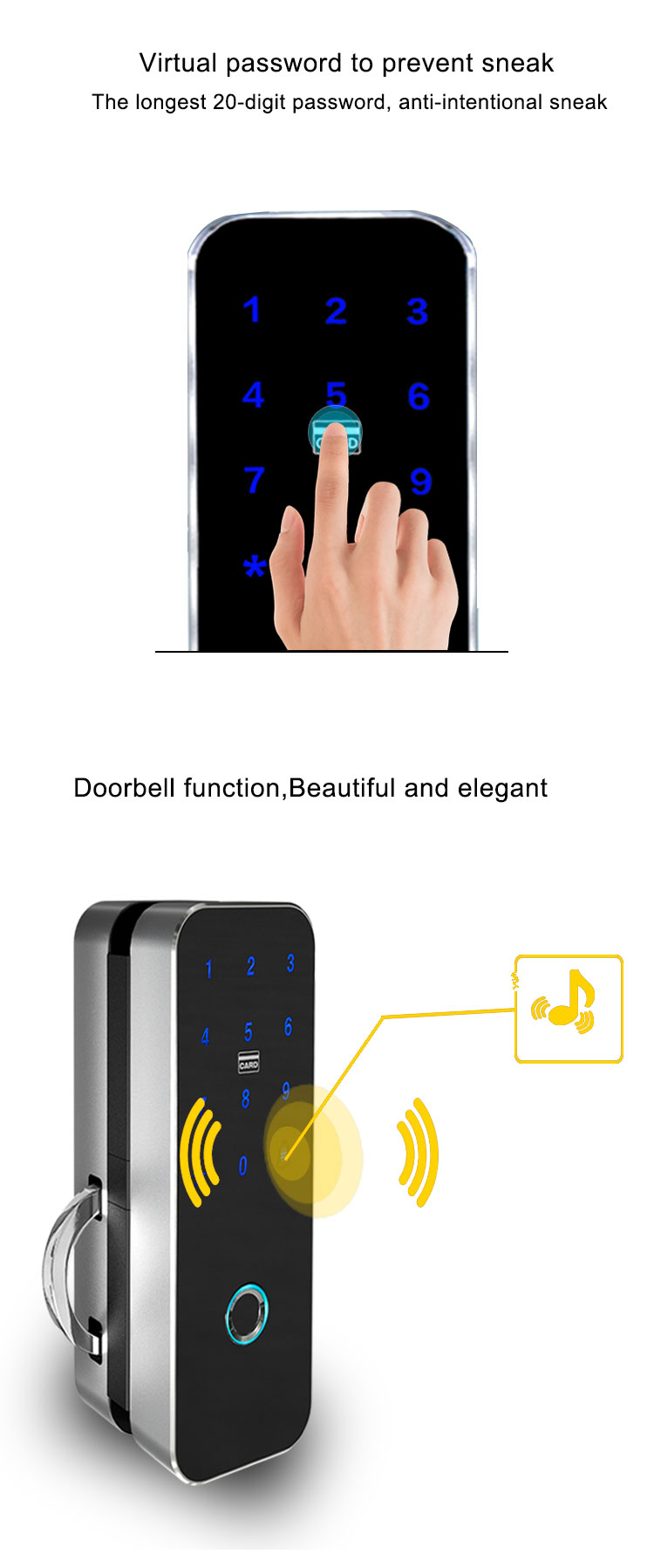 Finger Touch Tastatur Wireless Fernbedienung Sicherheit Glas Tür Smart Lock für Office Home Wohnung