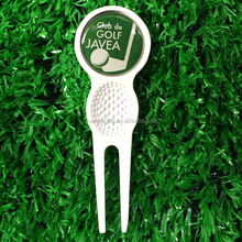 White color magnetic divot repair tool / golf fork and ball marker in golf