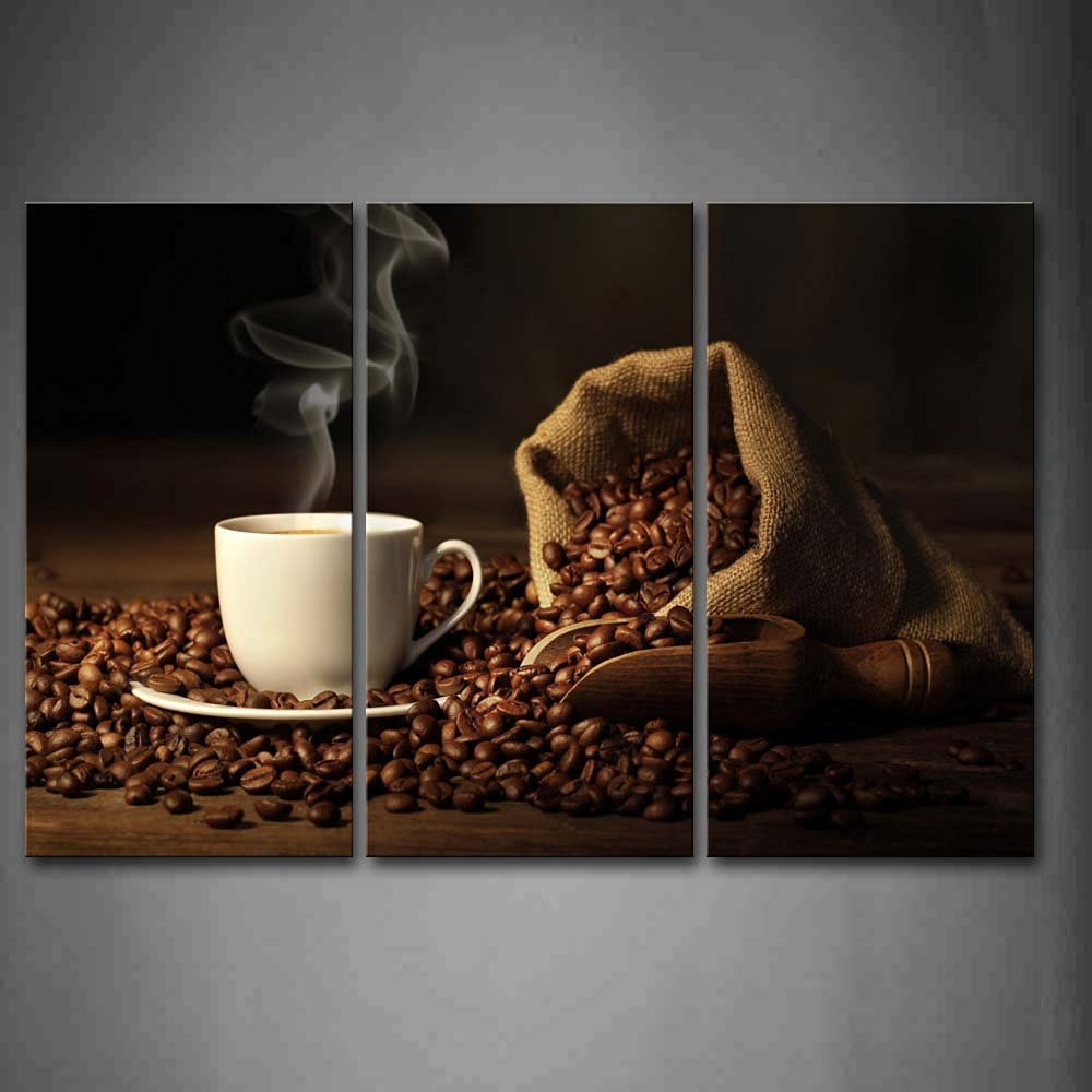 First Wall Art® - Brown A Cup Of Coffee And Coffee Bean. Wall Art Painting The Picture Print On Canvas Food Pictures For Home Decor Decoration Gift