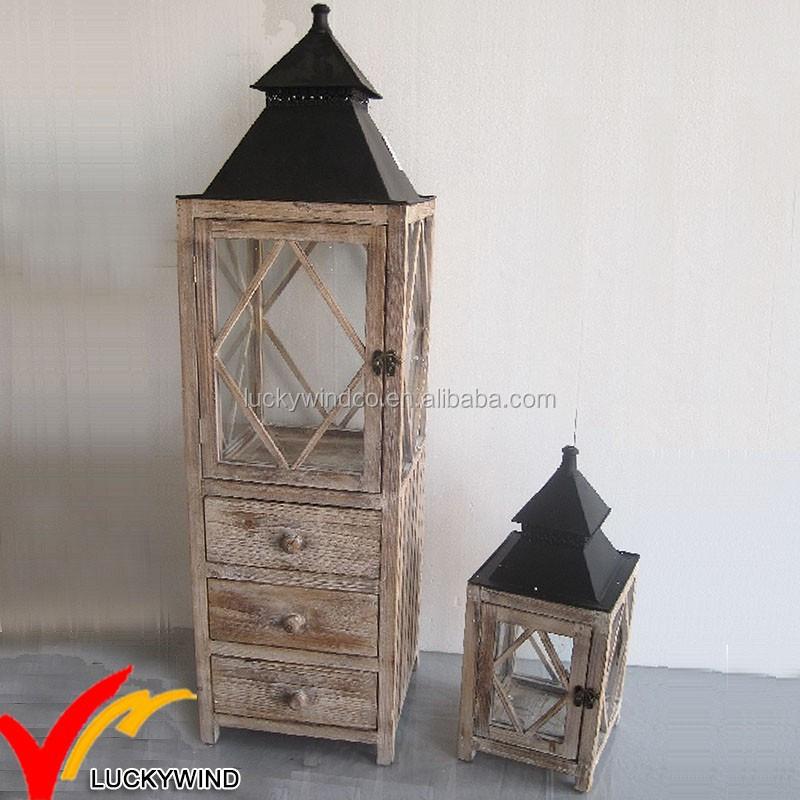 laterne aus holz mit schublade. Black Bedroom Furniture Sets. Home Design Ideas