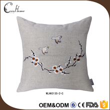 Fashion wholesale latest design coffee color handmade plain natural embroidered linen cushion cover