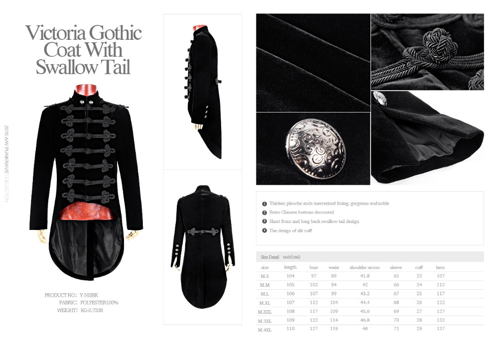 Y-593 Gorgeous Men Black Victoria Gothic Coat With Swallow Tail ...