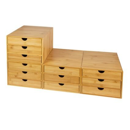 Bamboo home office desktop tidy A4 storage drawers organizer 3