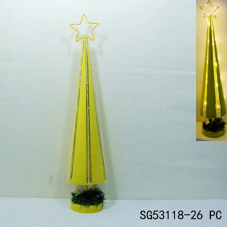 Yellow artificial christmas tree with led light