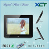 Wholesale bulk wall mounted gif lcd led 8 inch digital picture frame memory cards usb ce rohs XCT-8003