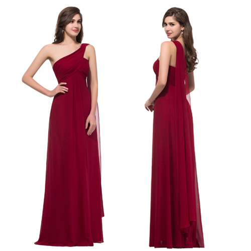 Cheap Price 2015 New One Shoulder Elegant Ruffle in Floor Length Chiffon Dark Red Evening Dress Long Prom Formal Dresses 008909