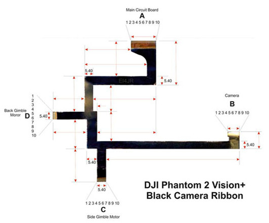 DJI PHANTOM 2 VISION OEM GIMBAL CAMERA REPLACEMENT FLEX RIBBON CABLE D67