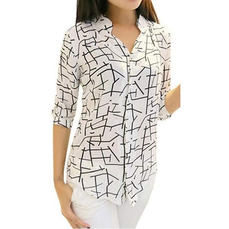 Women's Shirt Long Sleeve, Wugeshangmao Ladies Casual Print Chiffon Tops Button Down Blouses Tunic Sweatshirt Pollover