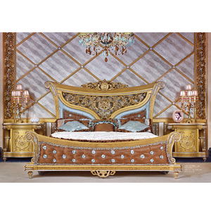Europe style Italian furniture luxury classic king size wooden bed designs double wooden carved gold bed designs