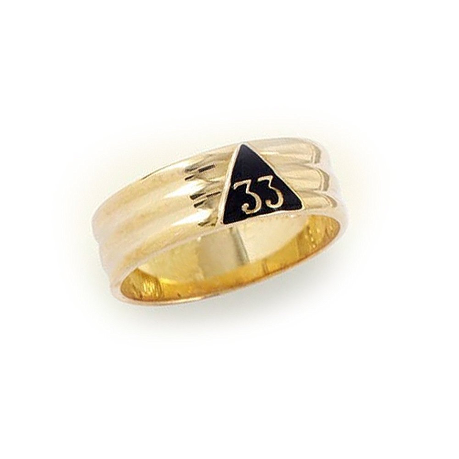 Gold Plated - Scotttish Rite 33rd Degree Grooved Band - Stainless Steel Freemason Ring / Masonic Ring - Freemason's Jewelry Masonic Rings for Free Masons