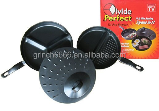 non-stick fry pan, divided frying pan with lid ,frying pan as see on TV
