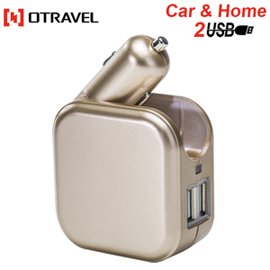 Otravel 2 in 1 car charger 2 port 2.1A usb car wall charger 2017 12v 24v with dual usb