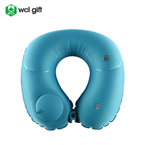 Promotional gift buckwheat hull automatic inflatable press type pillow for traveling