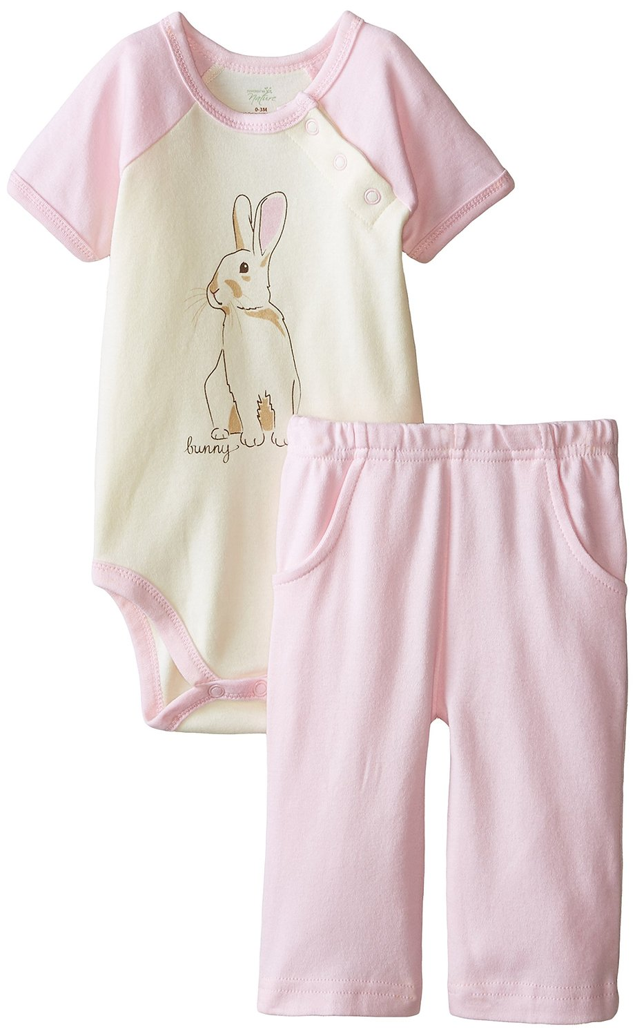 Touched by Nature Baby Organic Cotton Bodysuit Pant, 2 Piece Set