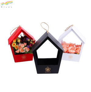 Custom paper flowerbox single flower box white pink red black pensile house-shaped boxes